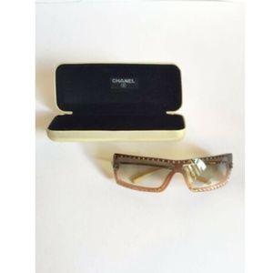 Chanel Women's Sunglasses Brown With Rhinestones